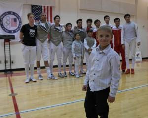 Адам со сборными США и Китая по фехтованию 2012